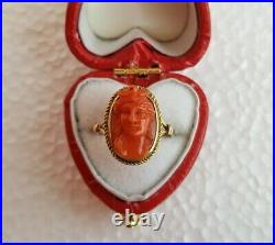 Antique Early Classical Carved Red Sardinian Coral Cameo Ring High Relief 14K