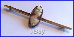 Antique Edwardian 15ct gold bar brooch with very finely carved small shell cameo