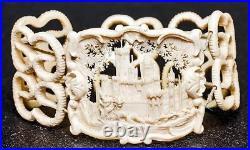 Antique English Victorian Carved Bracelet & Brooch, Architectural in Orig. Case