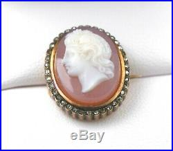 Antique Fine Agate Carved Cameo Pin Surrounded With Diamonds EXCELLENT