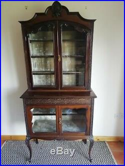 Antique Fine Carved Chippendale Style Display Cabinet Mahogany french ornate