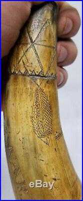 Antique Fine Carved Folk Art Scrimshaw Nautical Themed Powder Horn Mermaid Ships