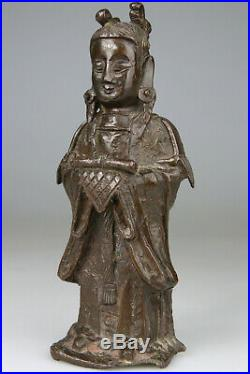 Antique Fine Chinese Bronze Buddha Statue Carved Warrior Ming 16th 17th C