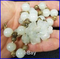 -Antique Fine Chinese Carved Nephrite Jade Flower Necklace Sterling Silver Liu