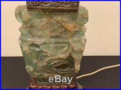Antique Fine Chinese Hand Carved Quartz Table Lamp