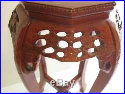 Antique Fine Chinese Or Japanese Pedestal Sculpture Stand Side Table Wood Carved
