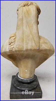 Antique Fine European Carved Alabaster Marble Figure Lady Star of David
