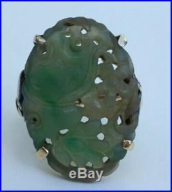 Antique Fine Jadeite 14k Gold Ring Floral Carved Pierced Jade Sz 8 Vintage