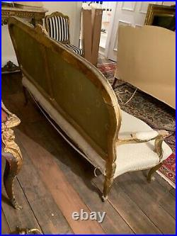 Antique Fine Quality French Carved Gilt Wood Salon Settee