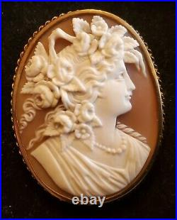 Antique Finely Carved Cameo Brooch 14K Yellow Gold braid and Silver band. NICE