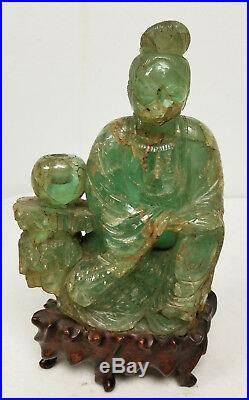 Antique Finely Carved Chinese Fluorite Softstone Figure Guanyin Apple Green