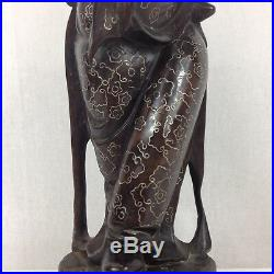 Antique Finely Carved Chinese Hardwood Figure Of A Sage Silver Inlay 28.5cm