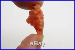 Antique Finely Carved Coral Bacchante Bust Charm / Pendant