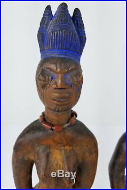 Antique Finely Carved Ere Ibeji Twin Figure Yoruba Africa Wood with Pigment