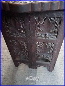 Antique Finely Carved Indian Octagonal Folding Side Table