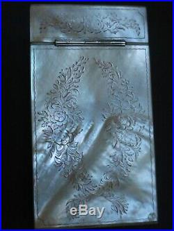 Antique Finely Carved Mother Of Pearl Scent Bottle Case / Etui Silver Mounts