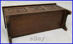 Antique Finely Carved Oak Dutch Miniature Box Dresser Jewelry Folk Americana