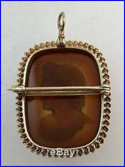 Antique Finely Carved Sardonyx Cameo 14k Gold Pendant / Brooch Apollo