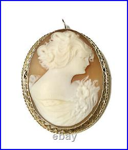 Antique Finely Carved Shell Cameo 10k Gold Filigree Pendant Brooch