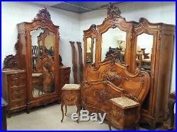 Antique Finely Carved Walnut Continemtal Bedroom Suite Cherub Ormolu Rococo