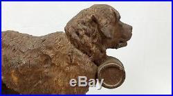 Antique Finely Carved Wood Black Forest St. Bernard Dog
