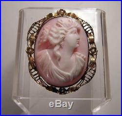 Antique Floral Lady 10K Gold Finely Carved Shell Large Cameo Pendant Pin