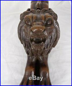 Antique French Large Carved Oak Wood Sculpture LION Finely Carved