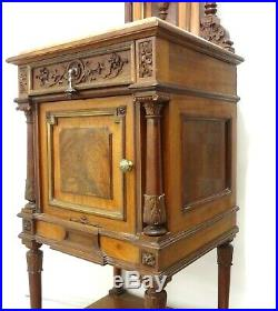 Antique French Neo Renaissance 3 Finely Carved Woods Brass Marble Side Table See