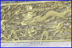Antique Hand Carved Bovine Bone Fine Panel Showing Chinese Men Fighting A Dragon