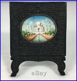 Antique Indian Miniature Of Taj Mahal Fine Detail In Carved Hardwood Frame