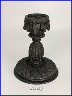 Antique Irish Bog Oak Fine Carved Candlestick Shamrocks Fine Quality c19th