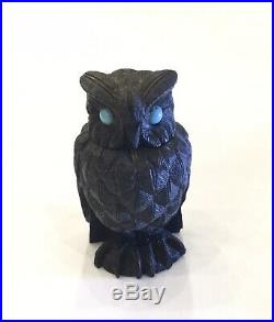 Antique Irish Bog Oak Owl Vesta Cornelius Goggins Very Finely Carved