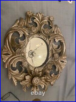 Antique Italian finely Carved Wood Silvered Mirror floral Leaf