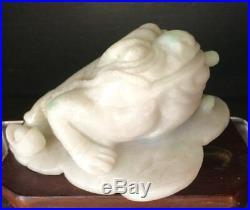 Antique Jadeite Jade sculpture fine carved Chinese immortal three legs toad