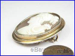 Antique MID Victorian 9k Gold Finely Carved Shell Cameo Brooch Orpheus & Lyre