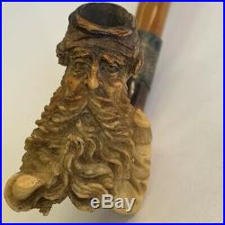 Antique Meerschaum Tobacco Pipe Finely Carved Bearded Soldier Civil War Type