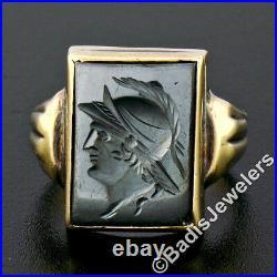Antique Mens 10K Yellow Gold Rectangular Carved Hematite Intaglio Solitaire Ring