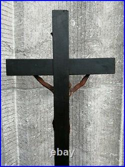 Antique Monastery Chapel Altar Wood Cross Crucifix Fine Hand Carved Jesus Corpus