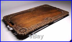 Antique Old Fine Hand Carved Wooden Rare Serving Tray