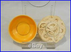 Antique Oriental Japanese Bovine Bone Pot & Lid finely carved dragon