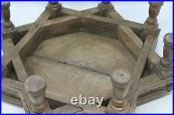 Antique Original Wooden Brass Fitted Star Shaped Fine Shrine Bajot Stand NH6346