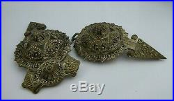 Antique Ottoman Empire Carved Silver Belt Buckle, Large & Intricate Example FINE