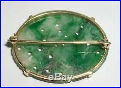Antique Pin / 14K YELLOW GOLD / FINELY CARVED JADE / CUT-OUT FLOWERS & FOLIAGE