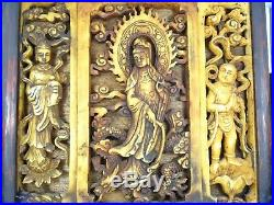 Antique Qing Fine Carved Three Panel Kwan Yin Guanyin Plaque On Stand