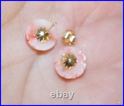 Antique Quality 14k Gold Angel Skin Coral Carved Rose Studs & Drop Earrings