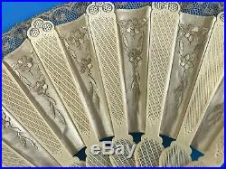 Antique Rare Chinese Fine Carved Bovine Bone Hand Fan with Embroidery & Lace