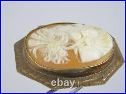 Antique Solid 10k Gold Heavy Frame Fine Carved Cameo Lady Pin Brooch 1 5/8