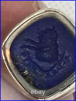 Antique Sterling Ring w Carved Lapis Lazuli Intaglio of Ship w Motto Sz 3