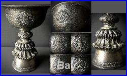 Antique Tibetan Buddhist Ritual Silver Yak Butter Lamp with Fine Hand Carvings
