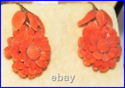 Antique VICTORIAN Carved Coral EARRINGS 14 Kt Gold